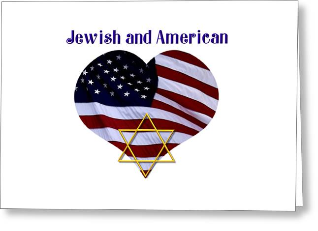 Jewish And American Flag With Star Of David Greeting Card by Rose Santuci-Sofranko