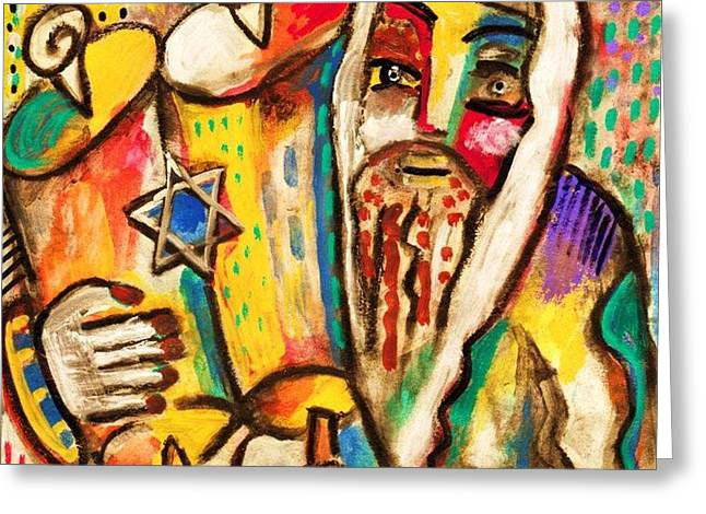 Jewish Celebrations Rejoicing In The Torah Greeting Card by Sandra Silberzweig