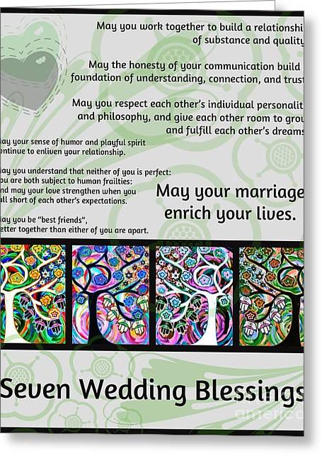 Jewish Seven Wedding Blessings Tree Of Life Hamsas Greeting Card by Sandra Silberzweig