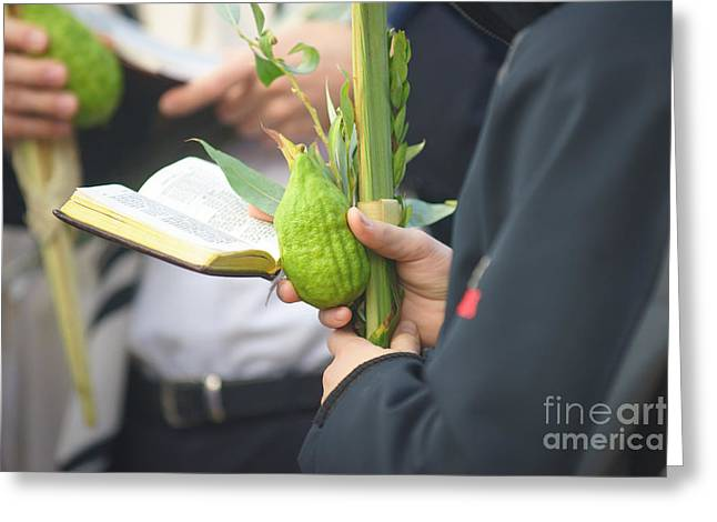 Jewish Sunrise Prayers At The Western Wall, Israel 3 Greeting Card