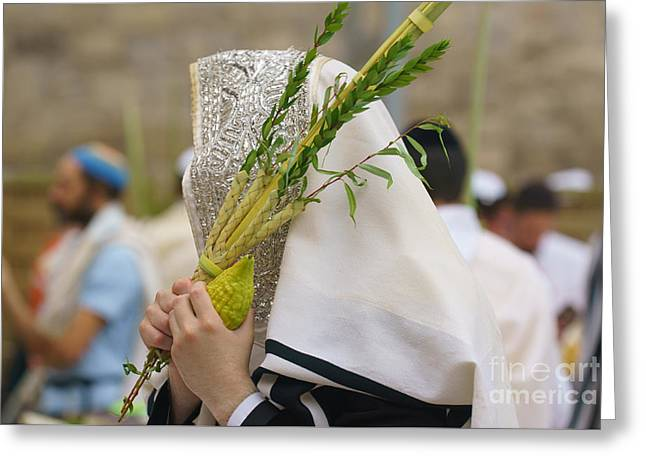 Jewish Sunrise Prayers At The Western Wall, Israel 5 Greeting Card