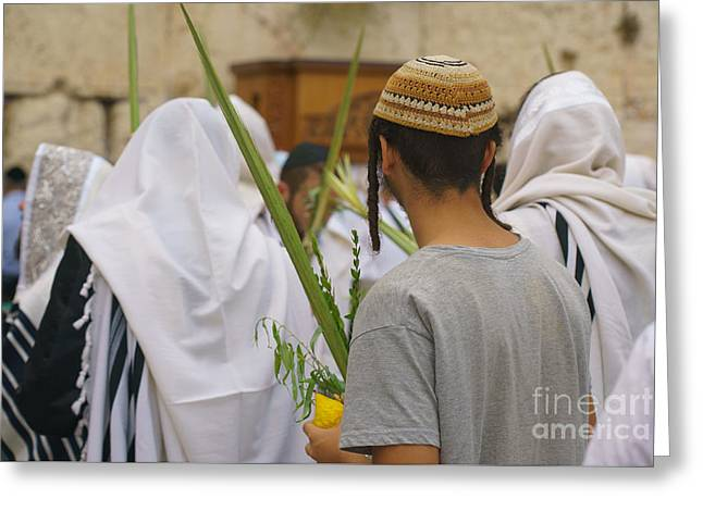 Jewish Sunrise Prayers At The Western Wall, Israel 8 Greeting Card