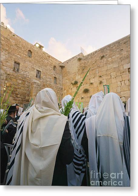 Jewish Sunrise Prayers At The Western Wall, Israel 9 Greeting Card