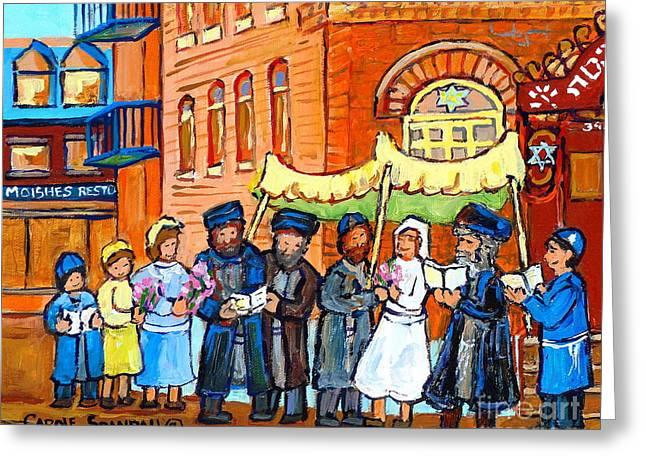 Jewish Wedding Under The Chupa Montreal Street Scene Bagg Synagogue Canadian Art Carole Spandau      Greeting Card by Carole Spandau