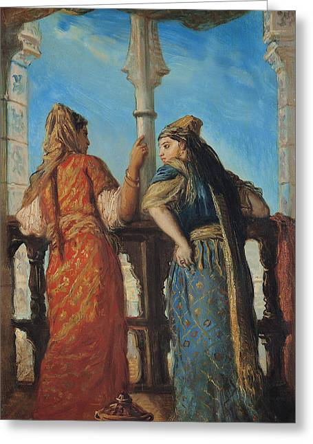 Harem Paintings Greeting Cards - Jewish Women at the Balcony in Algiers Greeting Card by Theodore Chasseriau