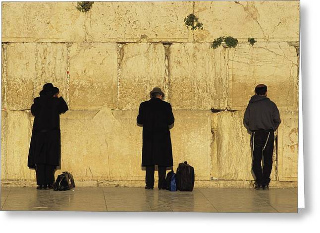 Judaic Greeting Cards - Jews Pray At The Western Wall Greeting Card by Annie Griffiths