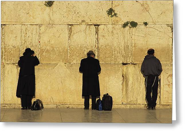 Jews Pray At The Western Wall Greeting Card by Annie Griffiths