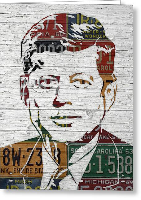 Jfk Portrait Made Using Vintage License Plates From The 1960s Greeting Card