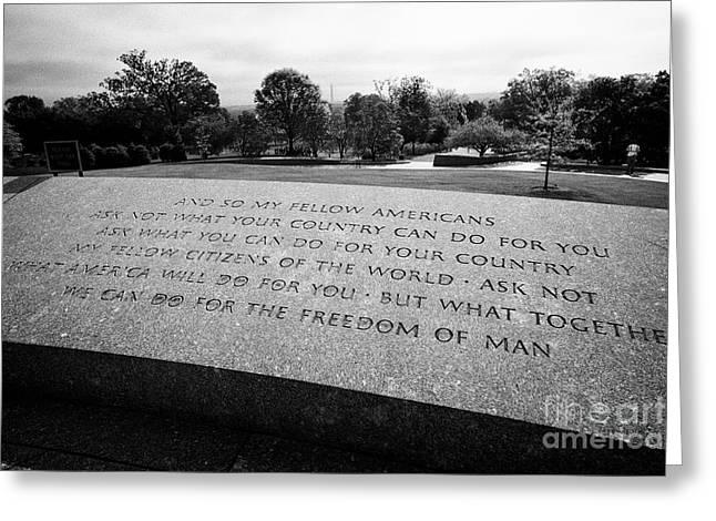 jfk quotes from his inaugural address at John F, Kennedy gravesite arlington cemetery Washington DC  Greeting Card