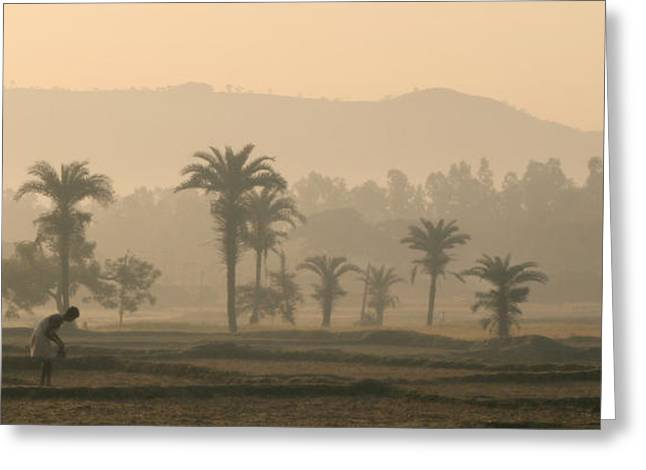 Jharkhand Early Morning Greeting Card by Angie Bechanan