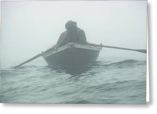 Jigging For Cod The Old Way, In A Dory Greeting Card by Bill Curtsinger
