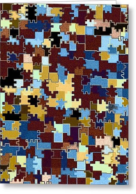 Jigsaw Abstract Greeting Card by Will Borden