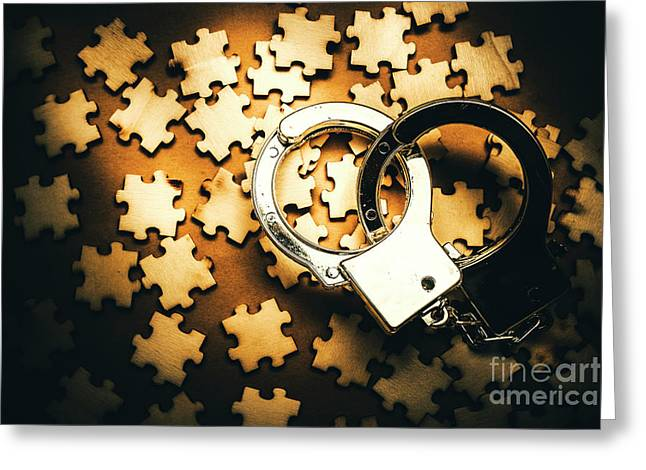 Jigsaw Of Misconduct Bribery And Entanglement Greeting Card by Jorgo Photography - Wall Art Gallery
