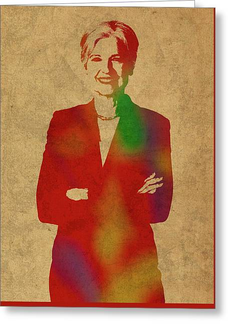 Jill Stein Green Party Political Figure Watercolor Portrait Greeting Card by Design Turnpike