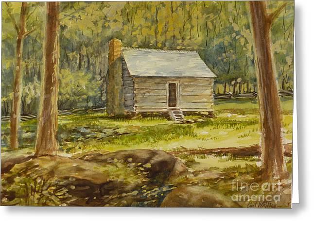 Jim Bales' Cabin Greeting Card by Carl Whitten