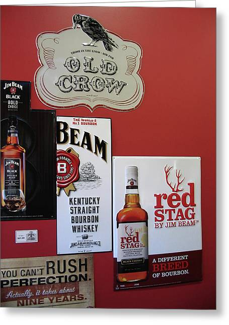 Jim Beam's Old Crow And Red Stag Signs Greeting Card