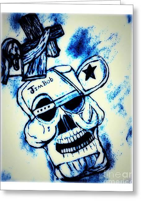 Jim-bob Skeleton Head Greeting Card by Debra Lynch