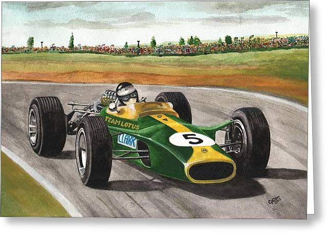 Jim Clark Natural Born Racer Greeting Card by Chris Cox