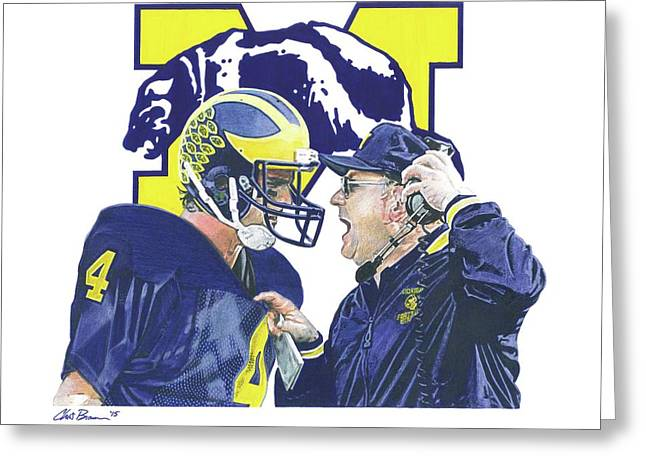 Jim Harbaugh And Bo Schembechler Greeting Card