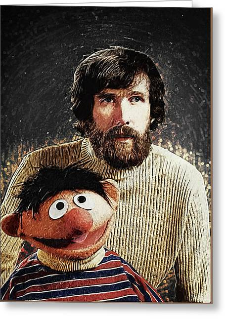 Jim Henson With Ernie Greeting Card by Taylan Apukovska