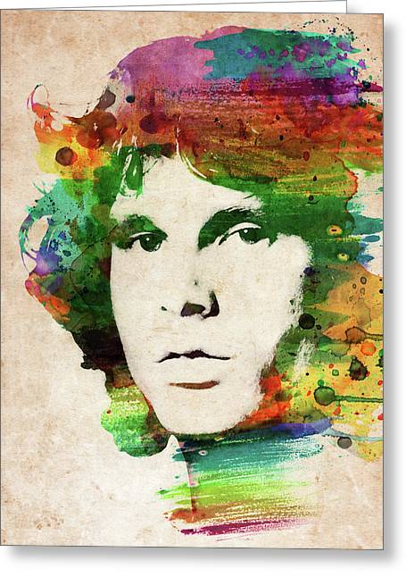 Jim Morrison Colorful Portrait Greeting Card