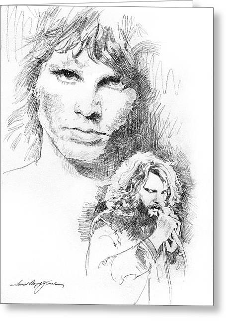 Rocks Drawings Greeting Cards - Jim Morrison Faces Greeting Card by David Lloyd Glover