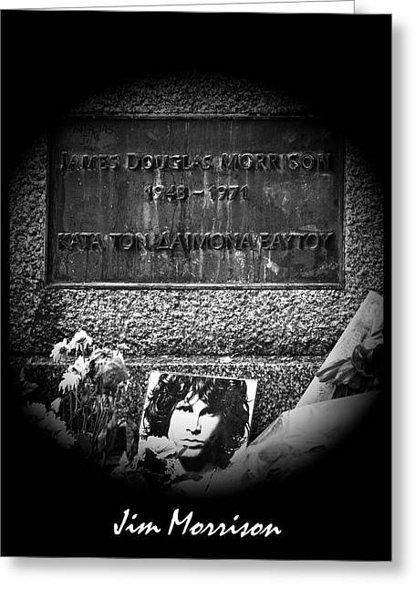 Jim Morrison Grave Pere Lachaise Cemetery Paris France Bw Greeting Card by Sally Rockefeller