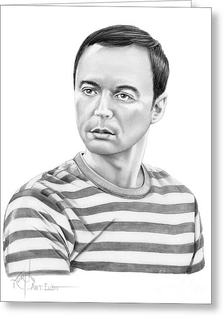 Jim Parsons - Sheldon Greeting Card by Murphy Elliott