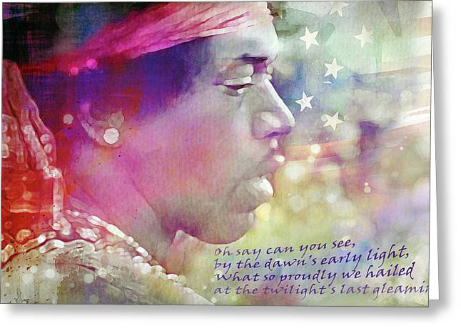 Jimi At Woodstock Greeting Card by Mal Bray