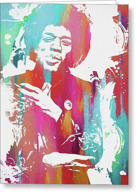 Jimi Color Spatter Greeting Card by Dan Sproul