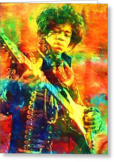 Jimi Greeting Card by Dan Sproul