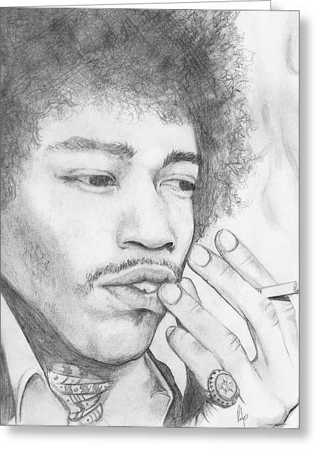 Haze Pastels Greeting Cards - Jimi Hendrix Artwork Greeting Card by Roly Orihuela