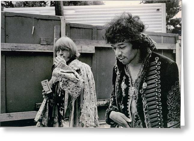 Jimi Hendrix  Brian Jones Monterey Black  White  Greeting Card by Kenneth Summers
