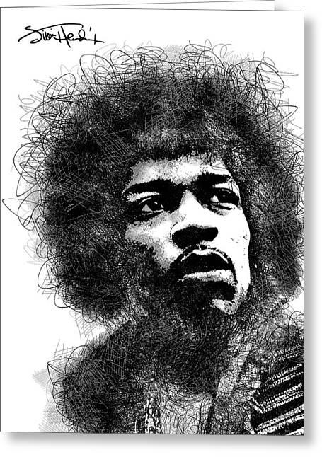 Jimi Hendrix Bw Scribbles Portrait Greeting Card