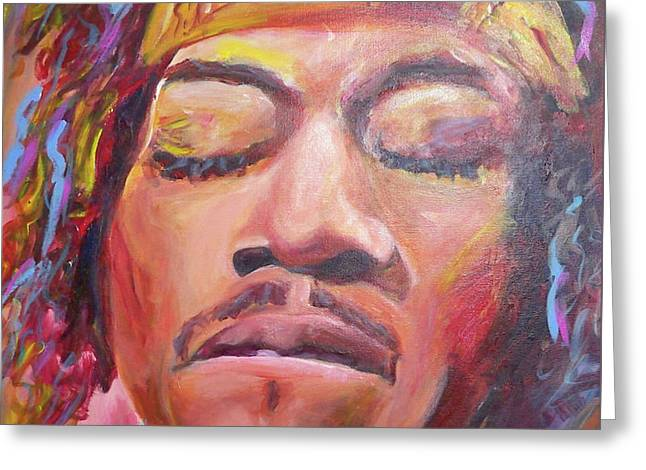 Jimi Hendrix Greeting Card by Carol Boss