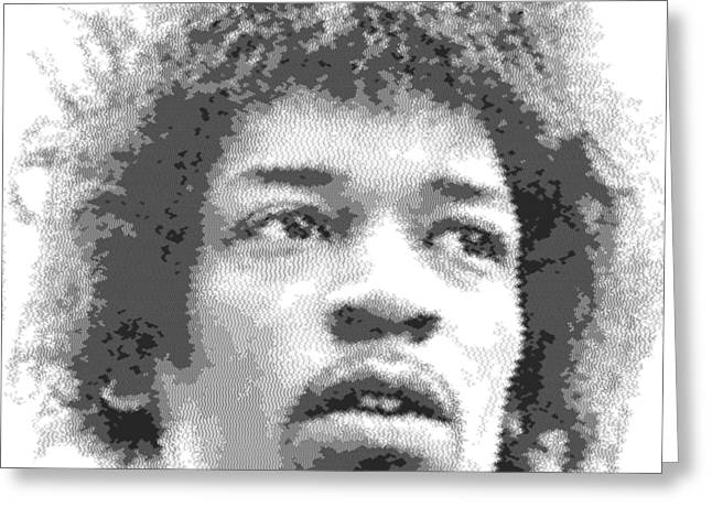 Jimi Hendrix - Cross Hatching Greeting Card