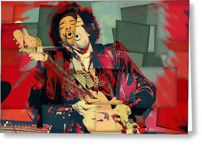 Jimi Hendrix Cubism Greeting Card by Dan Sproul