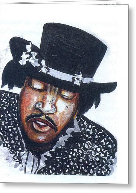 Greeting Card featuring the painting Jimi Hendrix by Emmanuel Baliyanga