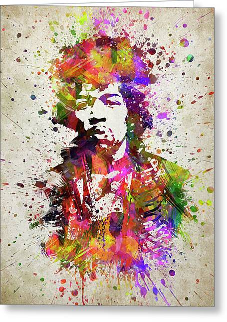 Jimi Hendrix In Color Greeting Card by Aged Pixel
