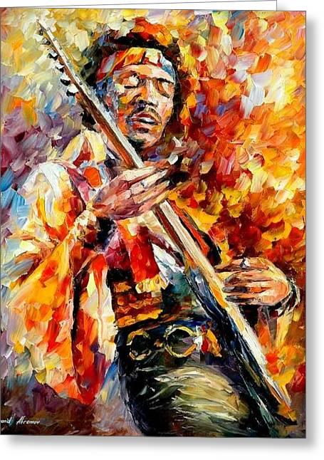 Jimi Hendrix  Greeting Card by Leonid Afremov