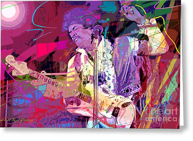 Jimi Hendrix Paintings Greeting Cards - Jimi Hendrix Monterey Pops Greeting Card by David Lloyd Glover