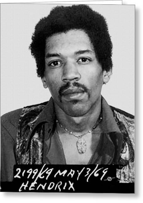 Jimi Hendrix Mug Shot Vertical Greeting Card