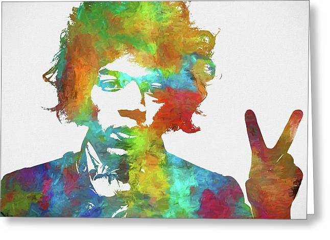 Jimi Hendrix Peace Greeting Card by Dan Sproul