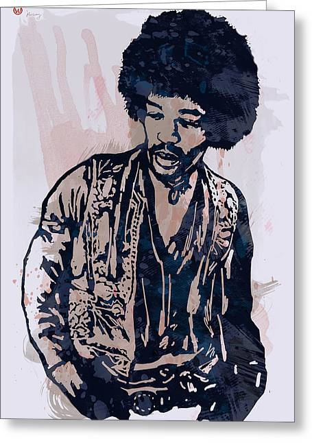 Most Greeting Cards - Jimi Hendrix Pop Stylised Art Sketch Poster Greeting Card by Kim Wang