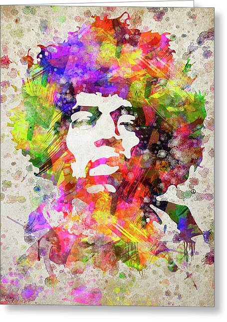 Jimi Hendrix Portrait Greeting Card by Aged Pixel