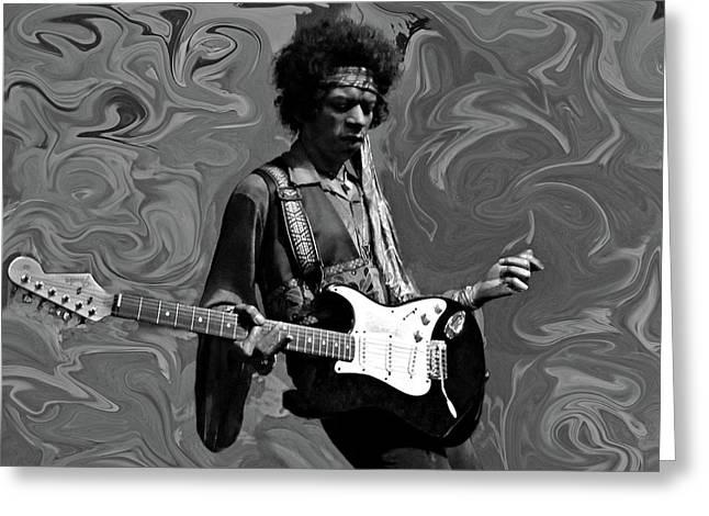 Greeting Card featuring the photograph Jimi Hendrix Purple Haze B W by David Dehner