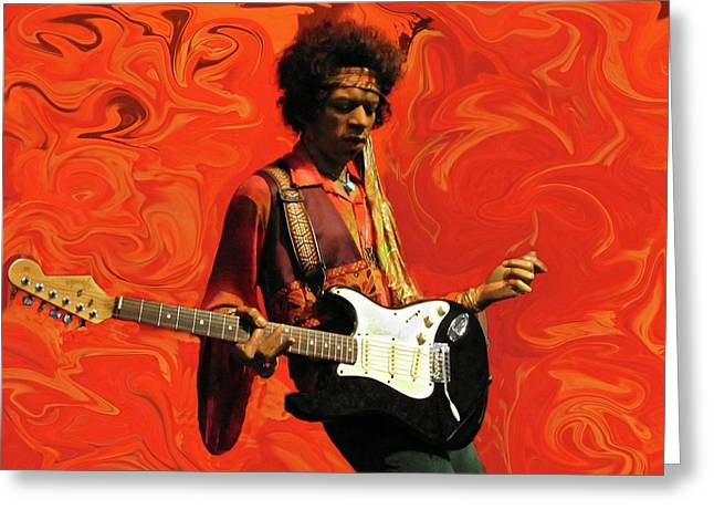 Greeting Card featuring the photograph Jimi Hendrix Purple Haze Orange by David Dehner