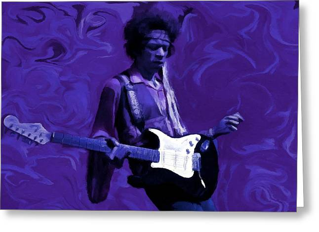 Greeting Card featuring the painting Jimi Hendrix Purple Haze P D P by David Dehner