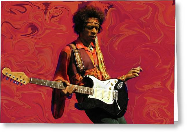 Greeting Card featuring the photograph Jimi Hendrix Purple Haze Red by David Dehner