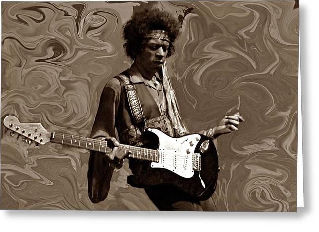Greeting Card featuring the photograph Jimi Hendrix Purple Haze Sepia by David Dehner